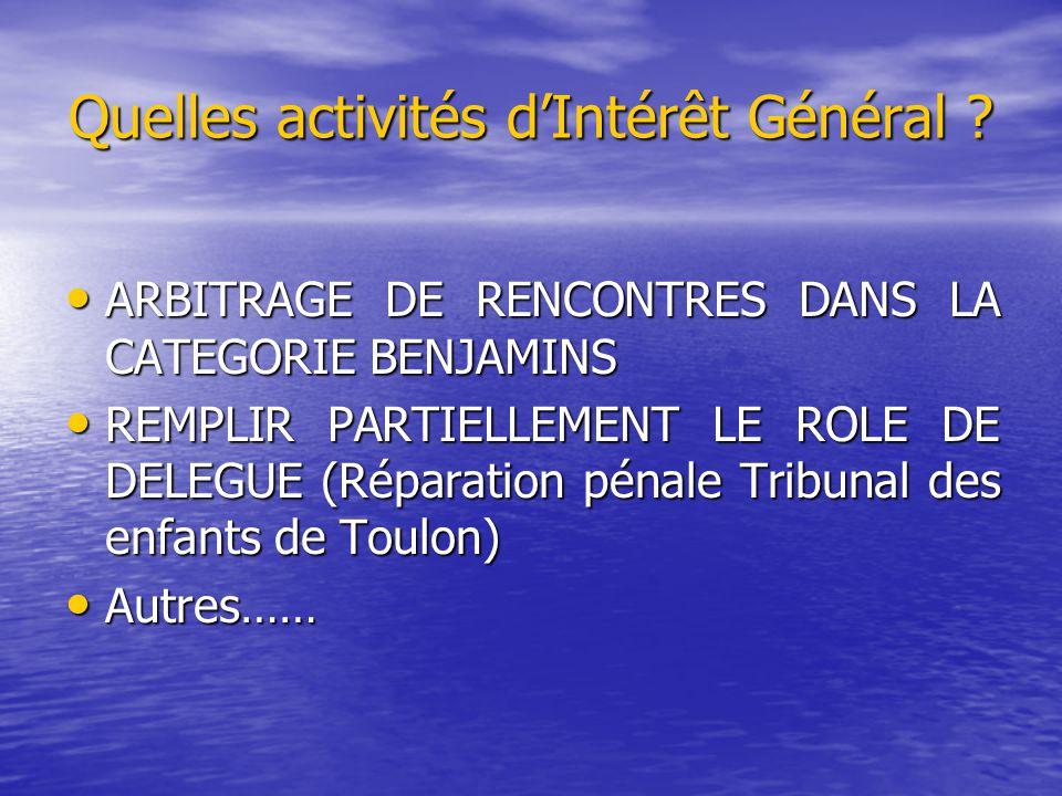 Quelles activités d'Intérêt Général ? ARBITRAGE DE RENCONTRES DANS LA CATEGORIE BENJAMINS ARBITRAGE DE RENCONTRES DANS LA CATEGORIE BENJAMINS REMPLIR