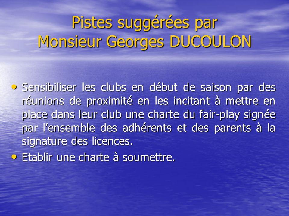 Pistes suggérées par Monsieur Georges DUCOULON Sensibiliser les clubs en début de saison par des réunions de proximité en les incitant à mettre en pla