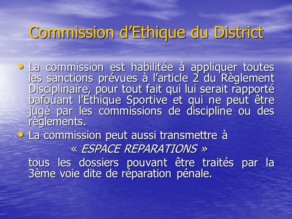 Commission d'Ethique du District La commission est habilitée à appliquer toutes les sanctions prévues à l'article 2 du Règlement Disciplinaire, pour t
