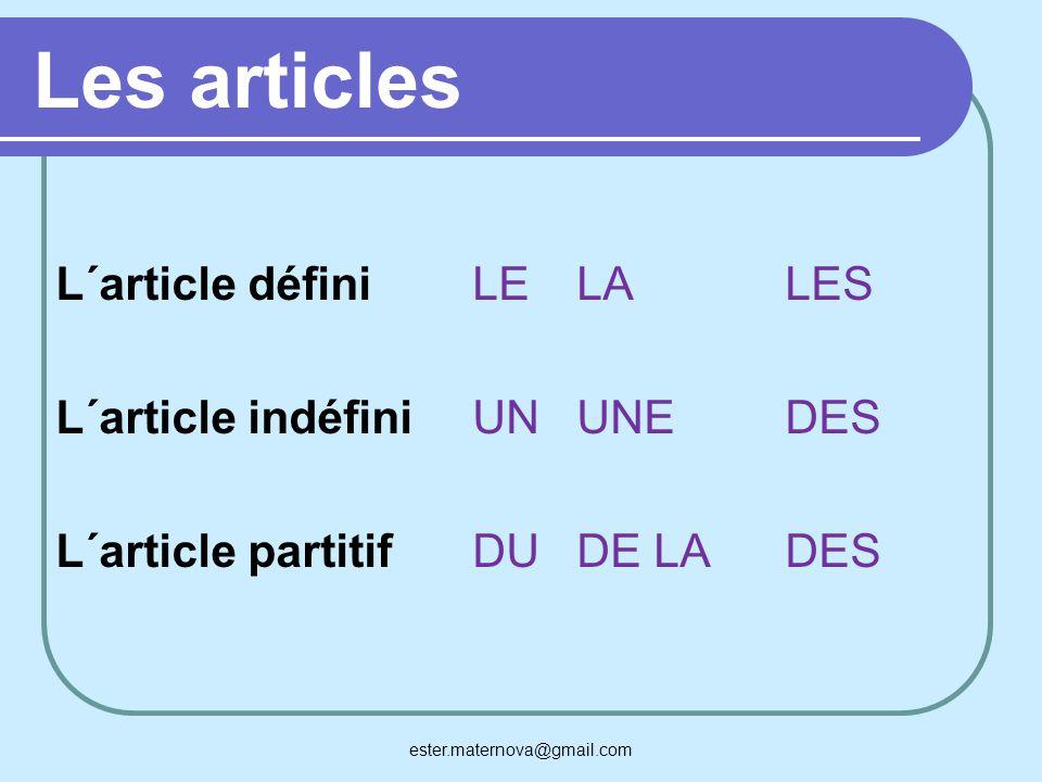 Les articles L´article définiLELALES L´article indéfiniUNUNEDES L´article partitifDUDE LADES ester.maternova@gmail.com