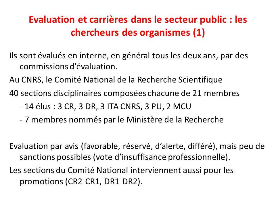Evaluation et carrières dans le secteur public : les chercheurs des organismes (1) Ils sont évalués en interne, en général tous les deux ans, par des commissions d'évaluation.