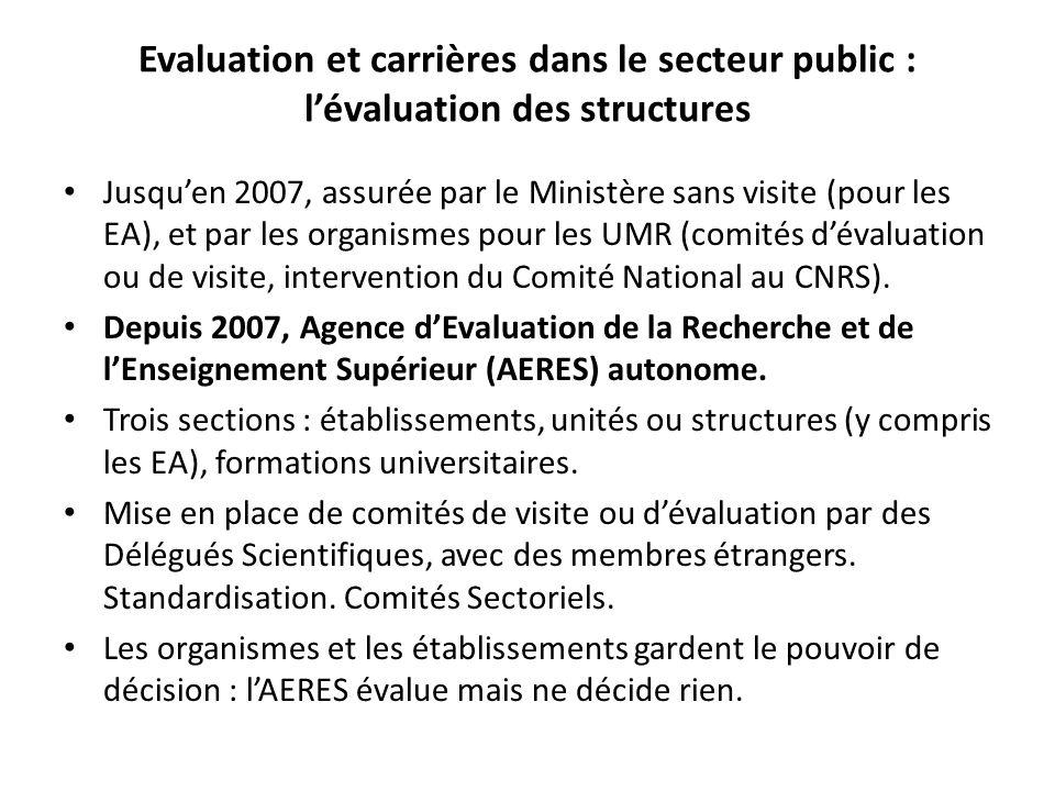 Evaluation et carrières dans le secteur public : l'évaluation des structures Jusqu'en 2007, assurée par le Ministère sans visite (pour les EA), et par les organismes pour les UMR (comités d'évaluation ou de visite, intervention du Comité National au CNRS).
