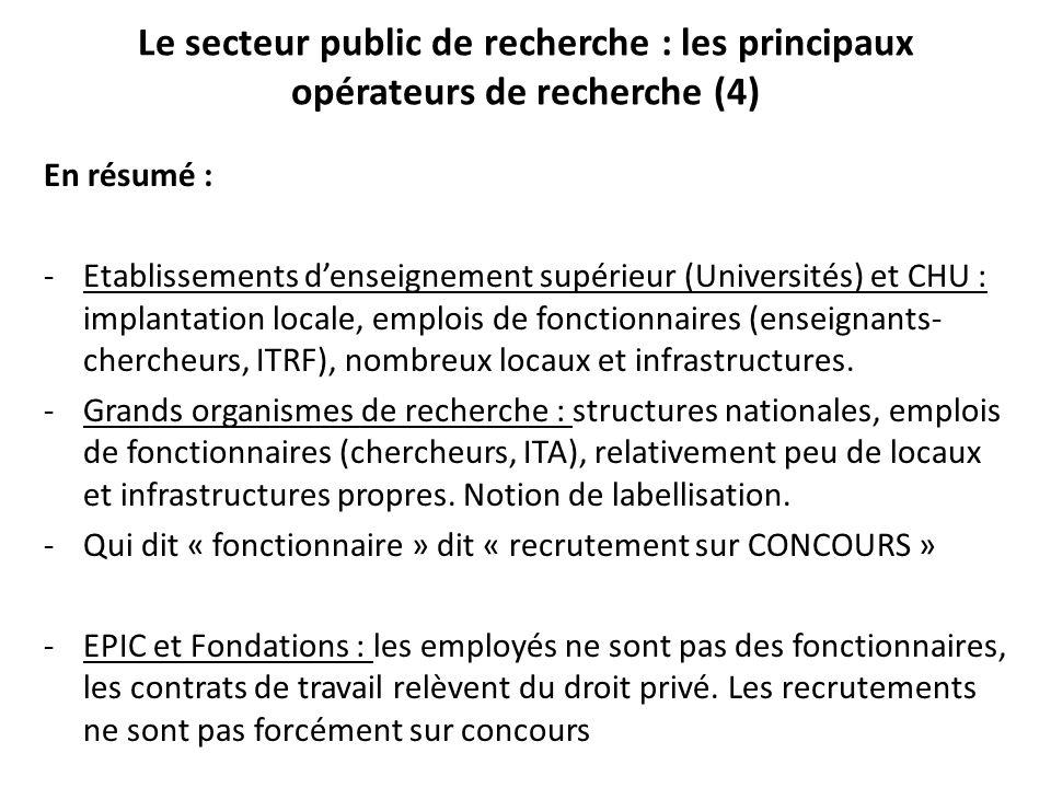 En résumé : - Etablissements d'enseignement supérieur (Universités) et CHU : implantation locale, emplois de fonctionnaires (enseignants- chercheurs, ITRF), nombreux locaux et infrastructures.