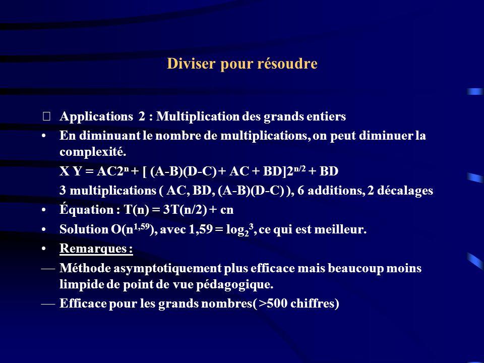 Diviser pour résoudre Applications 2 : Multiplication des grands entiers En diminuant le nombre de multiplications, on peut diminuer la complexité. X