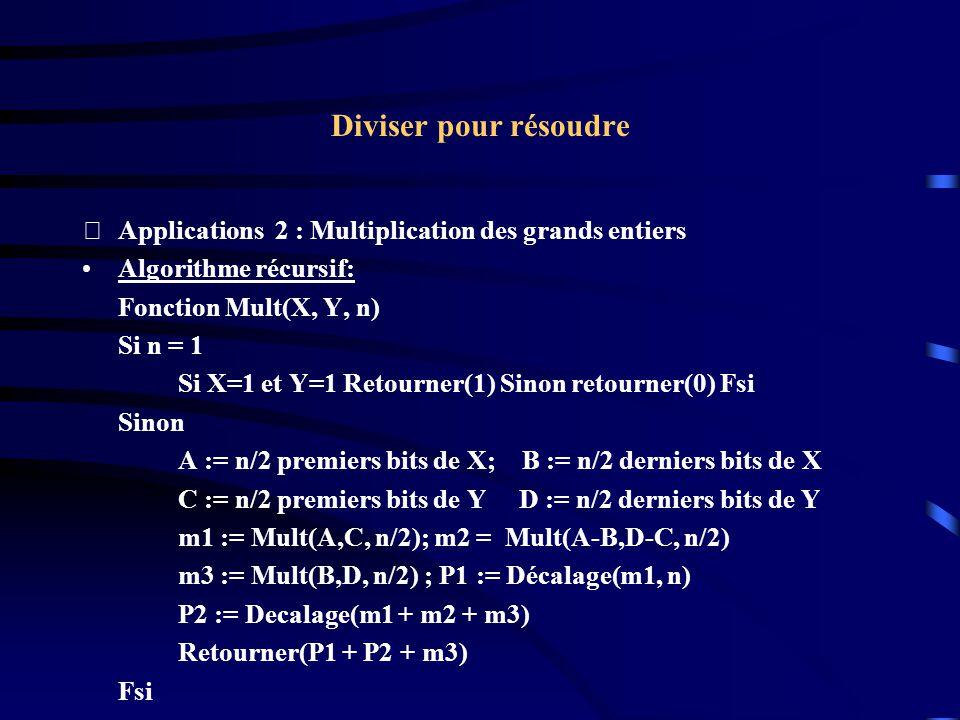 Diviser pour résoudre Applications 2 : Multiplication des grands entiers Algorithme récursif: Fonction Mult(X, Y, n) Si n = 1 Si X=1 et Y=1 Retourner