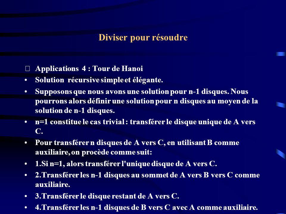 Diviser pour résoudre Applications 4 : Tour de Hanoi Solution récursive simple et élégante. Supposons que nous avons une solution pour n-1 disques. N