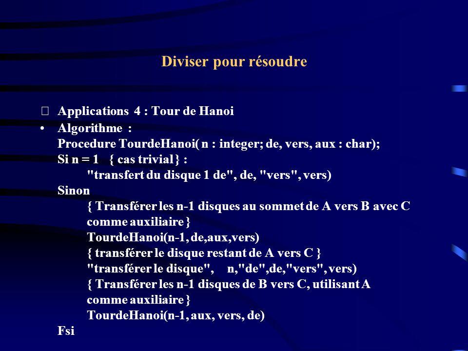 Diviser pour résoudre Applications 4 : Tour de Hanoi Algorithme : Procedure TourdeHanoi( n : integer; de, vers, aux : char); Si n = 1 { cas trivial }