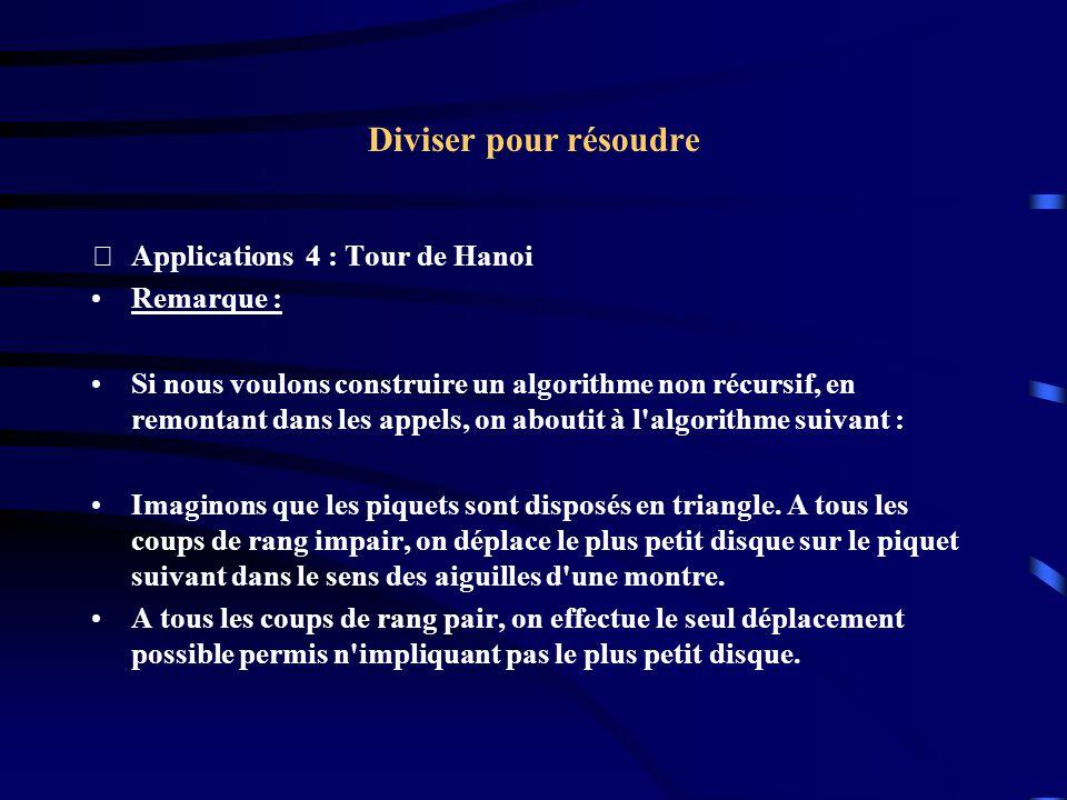 Diviser pour résoudre Applications 4 : Tour de Hanoi Remarque : Si nous voulons construire un algorithme non récursif, en remontant dans les appels,