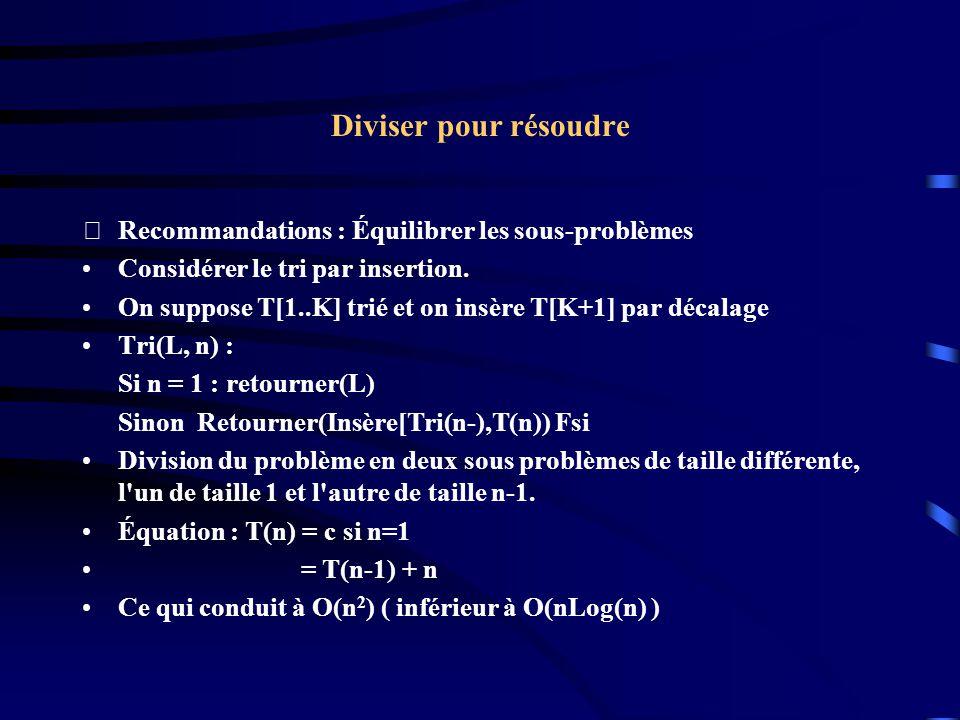 Diviser pour résoudre Recommandations : Équilibrer les sous-problèmes Considérer le tri par insertion. On suppose T[1..K] trié et on insère T[K+1] pa