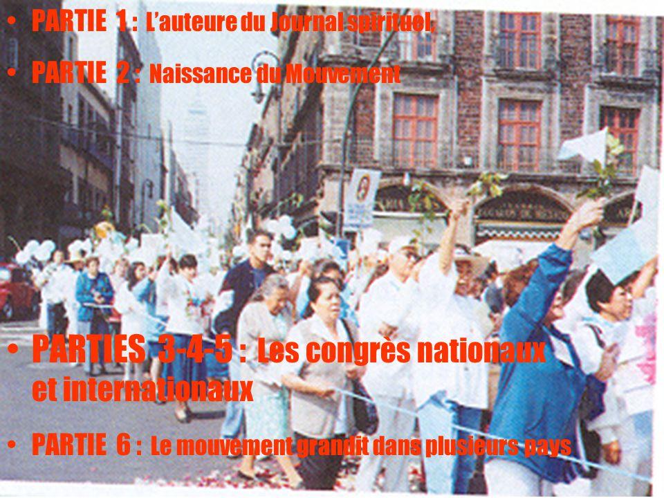 2 PARTIE 1 : L'auteure du Journal spirituel, PARTIE 2 : Naissance du Mouvement PARTIES 3-4-5 : Les congrès nationaux et internationaux PARTIE 6 : Le m