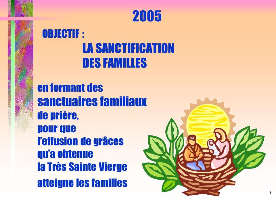 7 2005 OBJECTIF : LA SANCTIFICATION DES FAMILLES en formant des sanctuaires familiaux de prière, pour que l'effusion de grâces qu'a obtenue la Très Sa