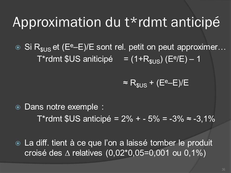 Approximation du t*rdmt anticipé  Si R $US et (E e –E)/E sont rel. petit on peut approximer… T*rdmt $US aniticipé = (1+R $US ) (E e /E) – 1 ≈ R $US +
