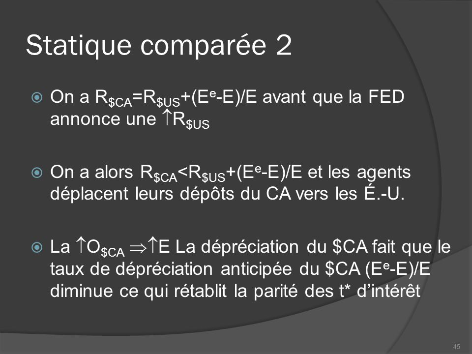 Statique comparée 2  On a R $CA =R $US +(E e -E)/E avant que la FED annonce une  R $US  On a alors R $CA <R $US +(E e -E)/E et les agents déplacent