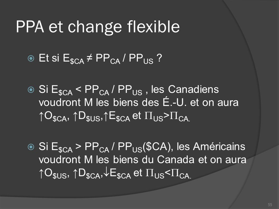 PPA et change flexible  Et si E $CA ≠ PP CA / PP US .