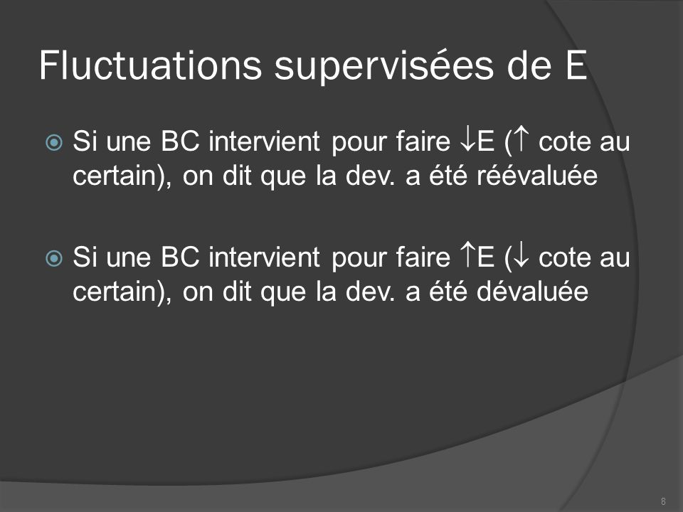 Fluctuations supervisées de E  Si une BC intervient pour faire  E (  cote au certain), on dit que la dev.