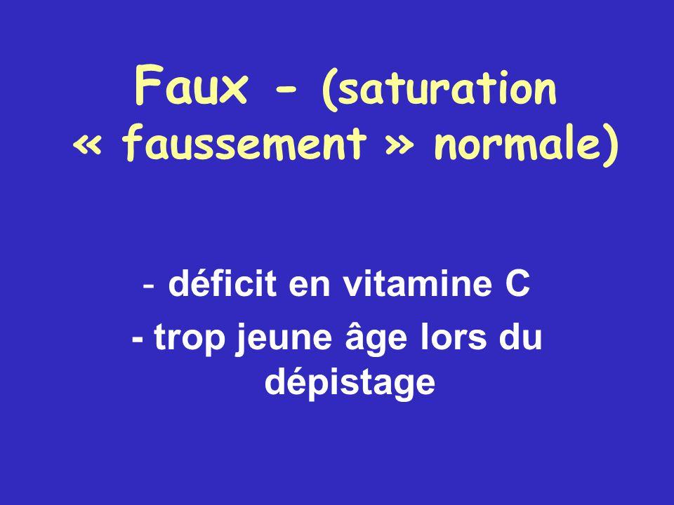Faux - (saturation « faussement » normale) - déficit en vitamine C - trop jeune âge lors du dépistage