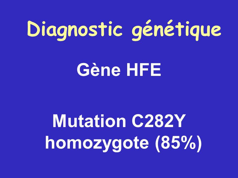Diagnostic génétique Gène HFE Mutation C282Y homozygote (85%)