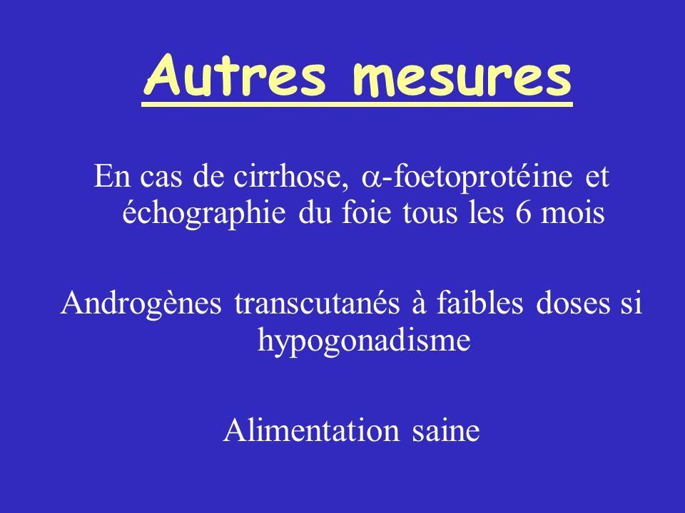 Autres mesures En cas de cirrhose,  -foetoprotéine et échographie du foie tous les 6 mois Androgènes transcutanés à faibles doses si hypogonadisme Alimentation saine