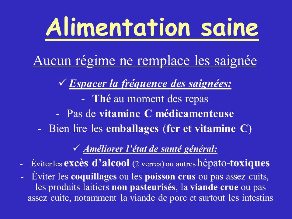 Aucun régime ne remplace les saignée Espacer la fréquence des saignées: -Thé au moment des repas -Pas de vitamine C médicamenteuse -Bien lire les emba