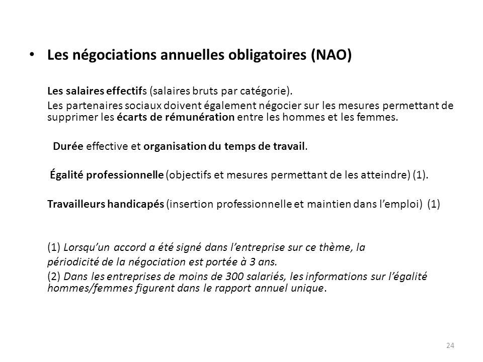 Les négociations annuelles obligatoires (NAO) Les salaires effectifs (salaires bruts par catégorie).