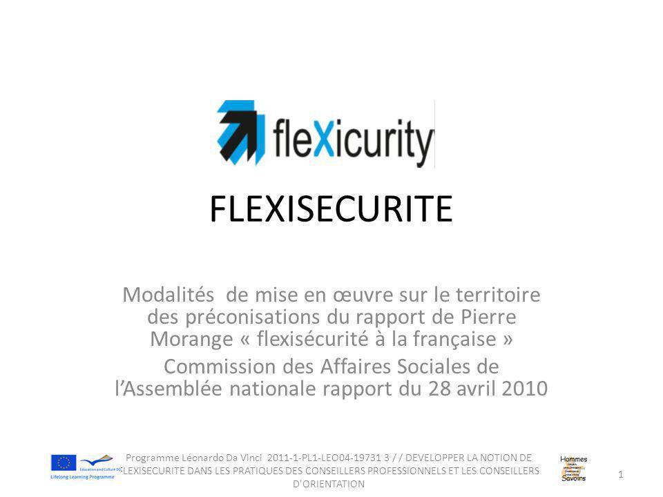 FLEXISECURITE Modalités de mise en œuvre sur le territoire des préconisations du rapport de Pierre Morange « flexisécurité à la française » Commission