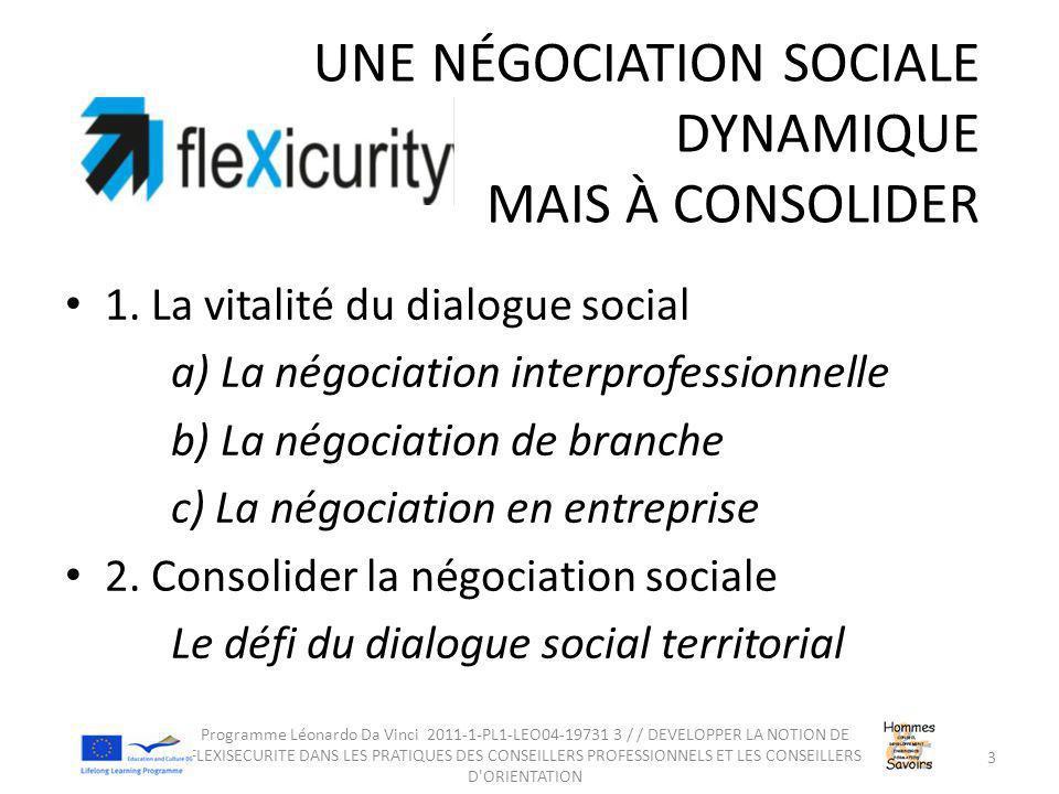 UNE NÉGOCIATION SOCIALE DYNAMIQUE MAIS À CONSOLIDER 1. La vitalité du dialogue social a) La négociation interprofessionnelle b) La négociation de bran
