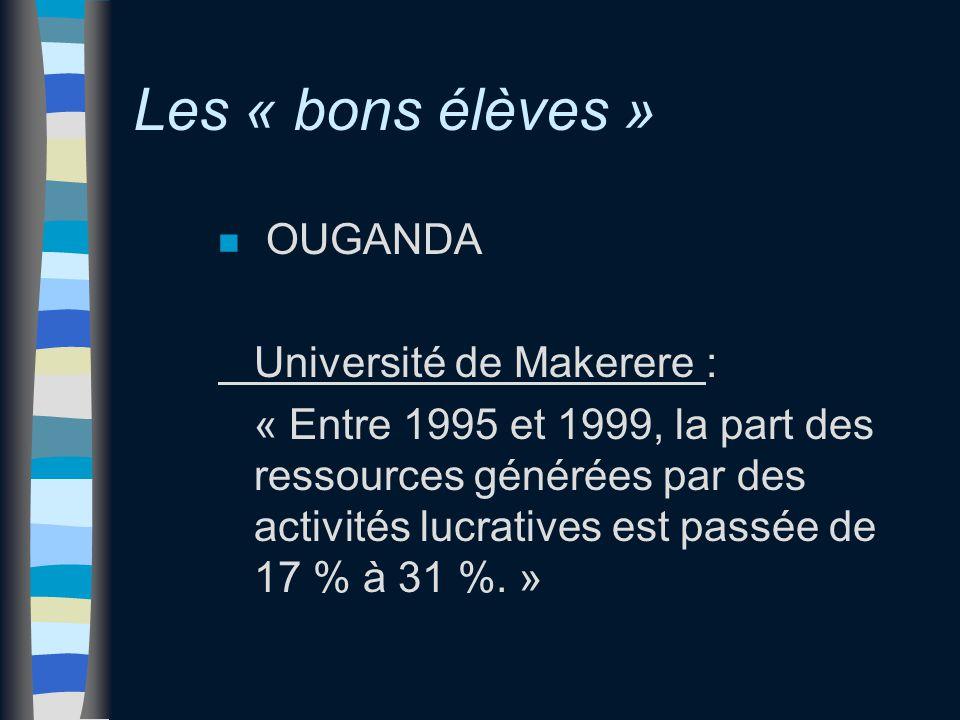 Les « bons élèves » n OUGANDA Université de Makerere : « Entre 1995 et 1999, la part des ressources générées par des activités lucratives est passée de 17 % à 31 %.