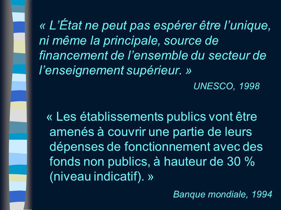 « L'État ne peut pas espérer être l'unique, ni même la principale, source de financement de l'ensemble du secteur de l'enseignement supérieur. » UNESC
