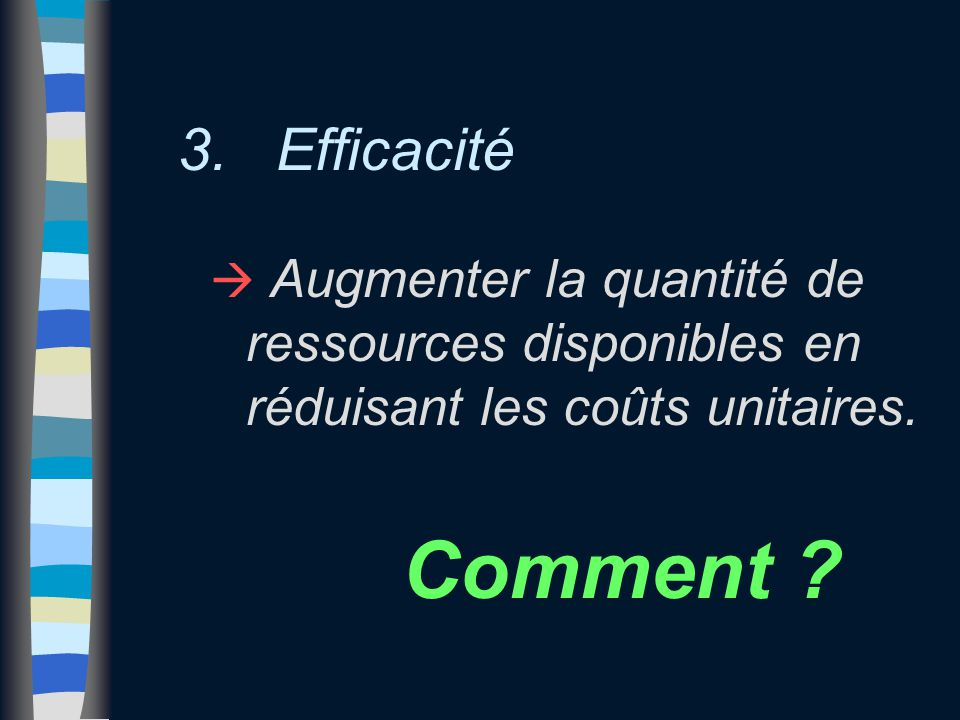 3. Efficacité à Augmenter la quantité de ressources disponibles en réduisant les coûts unitaires. Comment ?