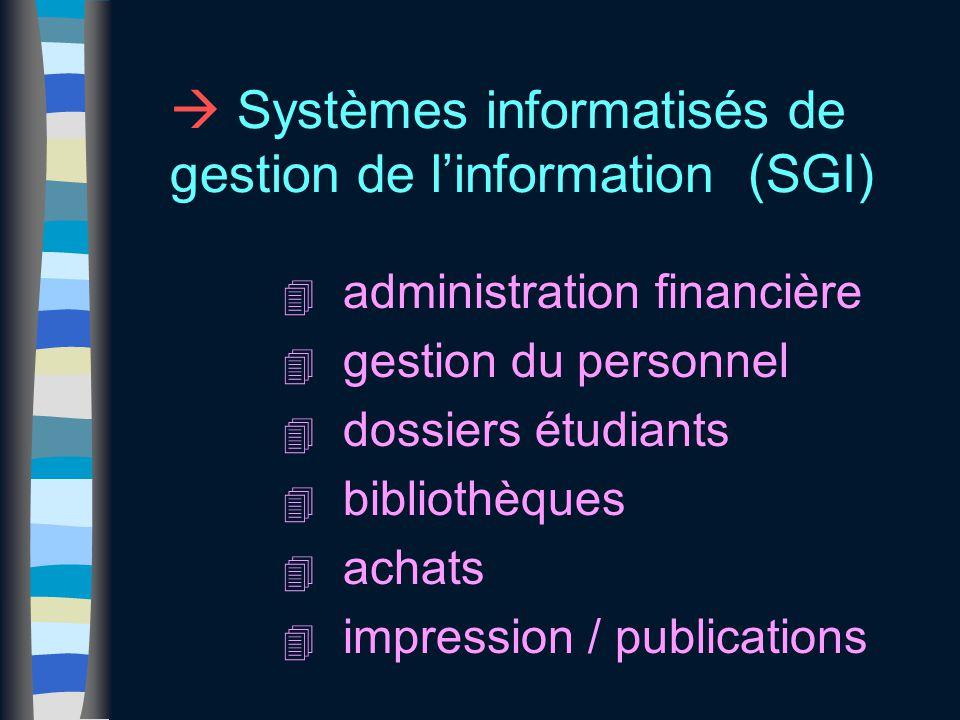  Systèmes informatisés de gestion de l'information (SGI) 4 administration financière 4 gestion du personnel 4 dossiers étudiants 4 bibliothèques 4 achats 4 impression / publications