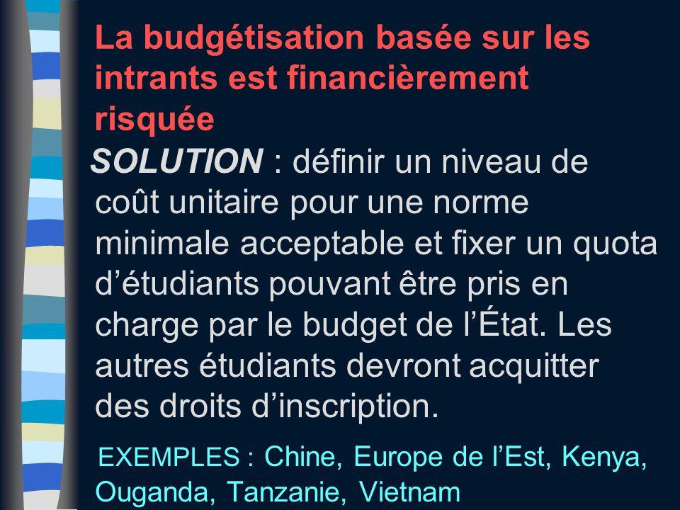 La budgétisation basée sur les intrants est financièrement risquée SOLUTION : définir un niveau de coût unitaire pour une norme minimale acceptable et fixer un quota d'étudiants pouvant être pris en charge par le budget de l'État.