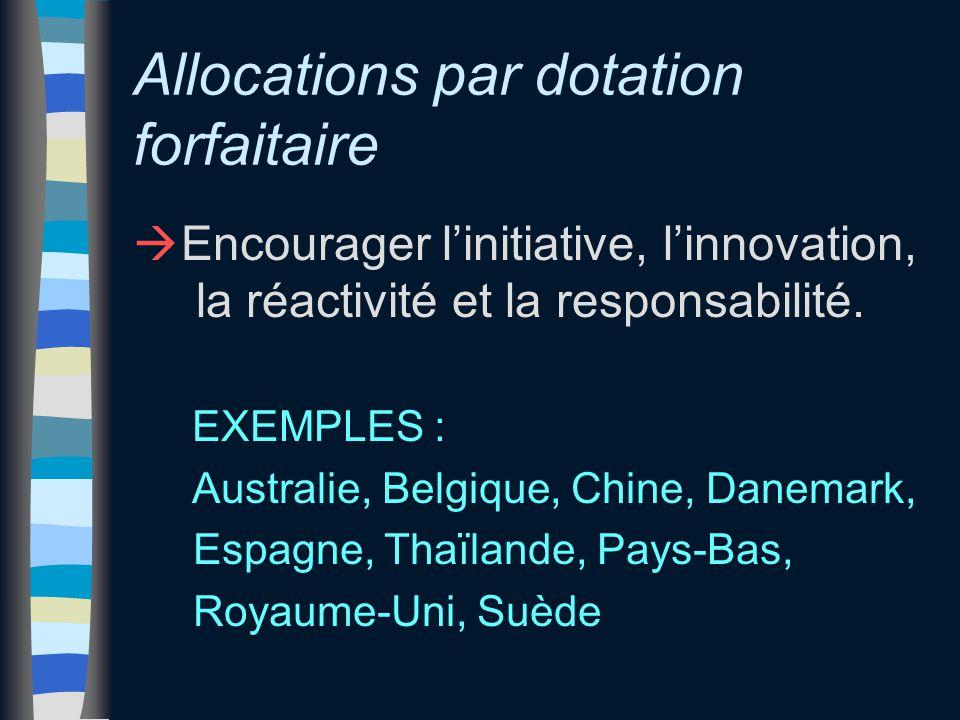 Allocations par dotation forfaitaire à Encourager l'initiative, l'innovation, la réactivité et la responsabilité. EXEMPLES : Australie, Belgique, Chin