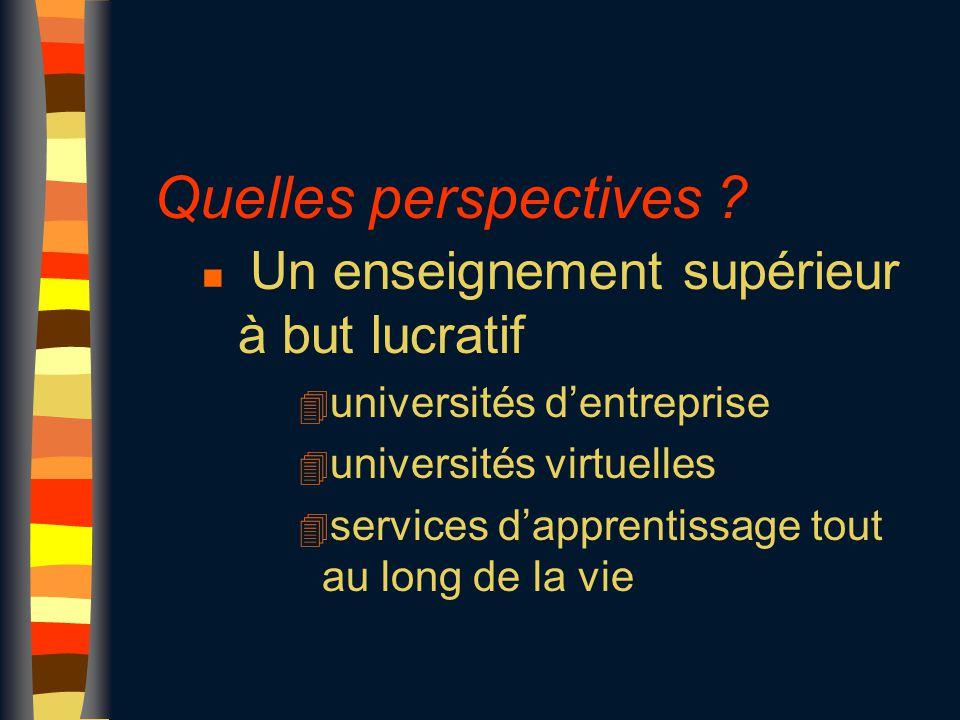 Quelles perspectives ? n Un enseignement supérieur à but lucratif 4 universités d'entreprise 4 universités virtuelles 4 services d'apprentissage tout