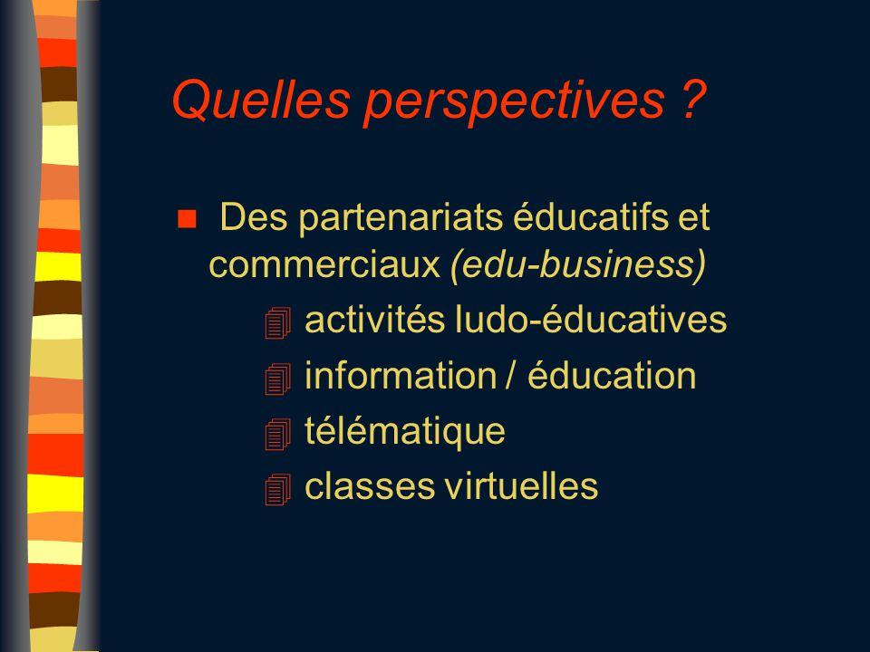 Quelles perspectives ? n Des partenariats éducatifs et commerciaux (edu-business) 4 activités ludo-éducatives 4 information / éducation 4 télématique
