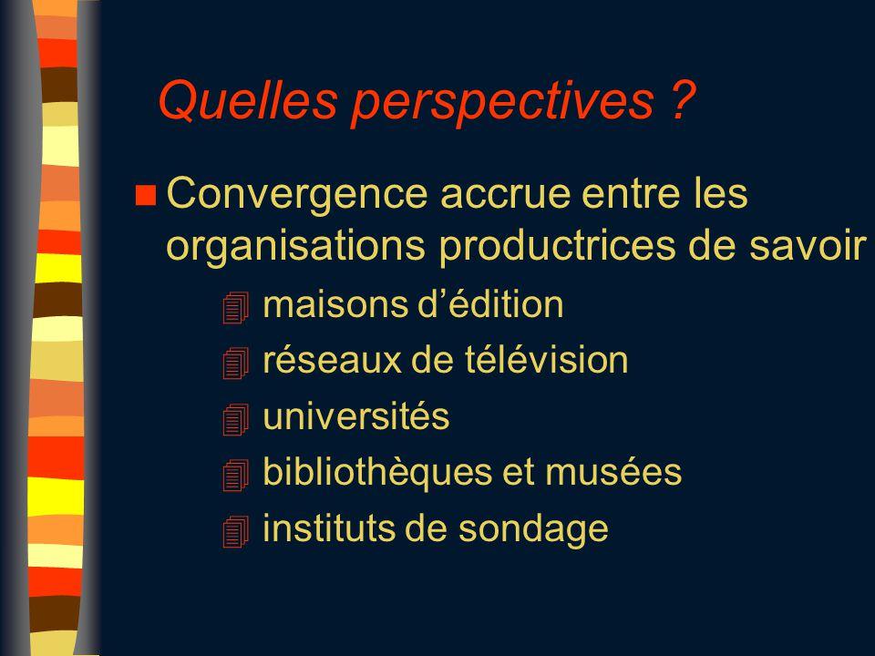 Quelles perspectives ? n Convergence accrue entre les organisations productrices de savoir 4 maisons d'édition 4 réseaux de télévision 4 universités 4