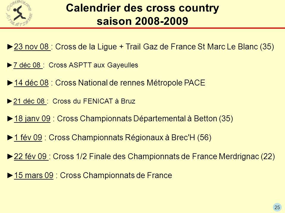 25 Calendrier des cross country saison 2008-2009 ►23 nov 08 : Cross de la Ligue + Trail Gaz de France St Marc Le Blanc (35) ►7 déc 08 : Cross ASPTT au