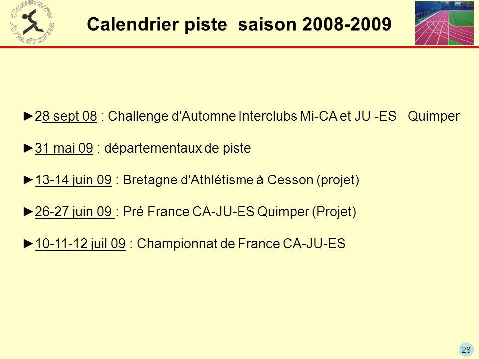 28 Calendrier piste saison 2008-2009 ►28 sept 08 : Challenge d'Automne Interclubs Mi-CA et JU -ES Quimper ►31 mai 09 : départementaux de piste ►13-14