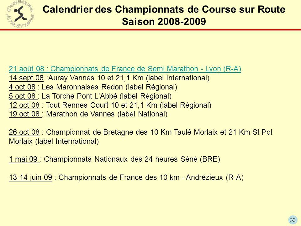 33 Calendrier des Championnats de Course sur Route Saison 2008-2009 21 août 08 : Championnats de France de Semi Marathon - Lyon (R-A) 14 sept 08 :Aura