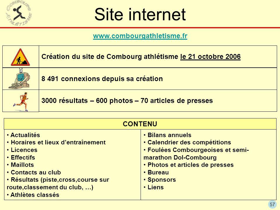 57 Site internet www.combourgathletisme.fr 8 491 connexions depuis sa création 3000 résultats – 600 photos – 70 articles de presses Actualités Horaire
