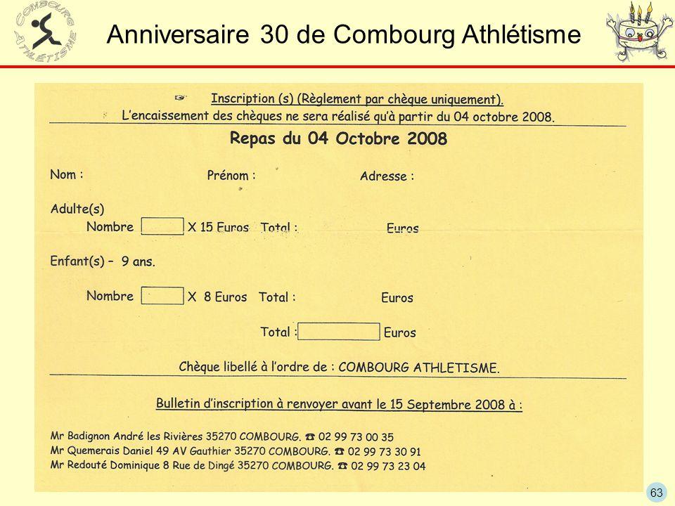 63 Anniversaire 30 de Combourg Athlétisme