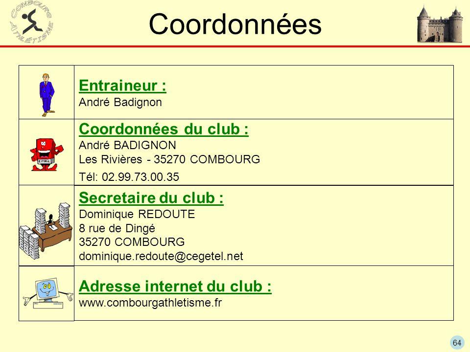 64 Coordonnées Entraineur : André Badignon Secretaire du club : Dominique REDOUTE 8 rue de Dingé 35270 COMBOURG dominique.redoute@cegetel.net Coordonn