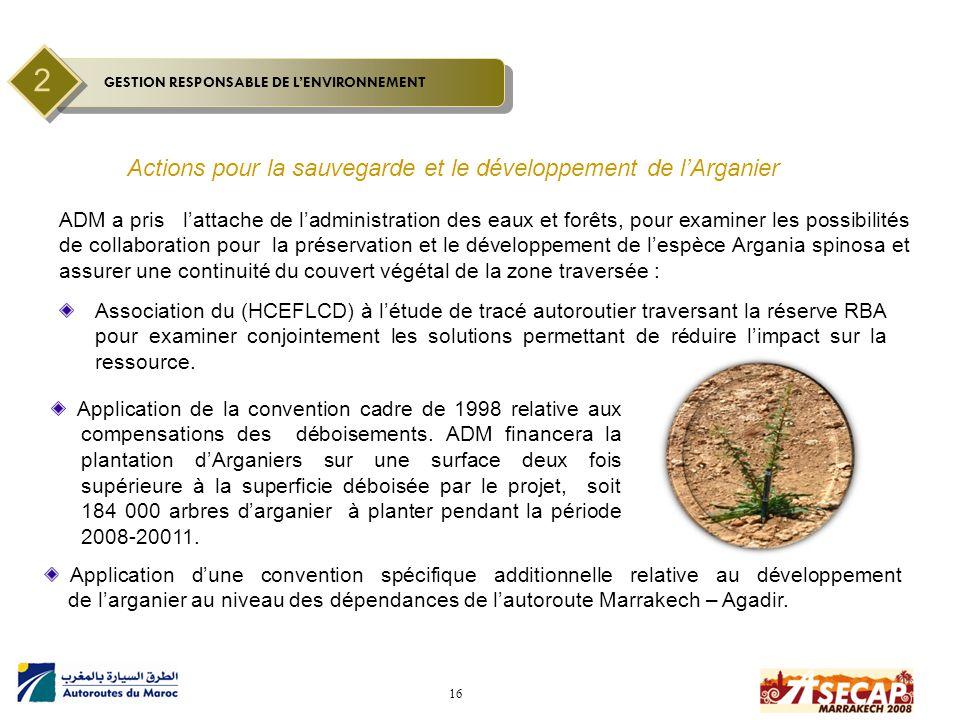 16 Actions pour la sauvegarde et le développement de l'Arganier Association du (HCEFLCD) à l'étude de tracé autoroutier traversant la réserve RBA pour