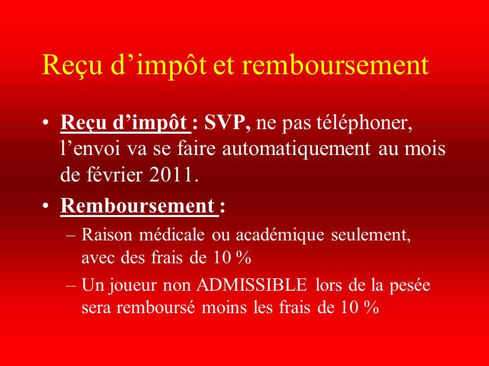 Reçu d'impôt et remboursement Reçu d'impôt : SVP, ne pas téléphoner, l'envoi va se faire automatiquement au mois de février 2011. Remboursement : –Rai