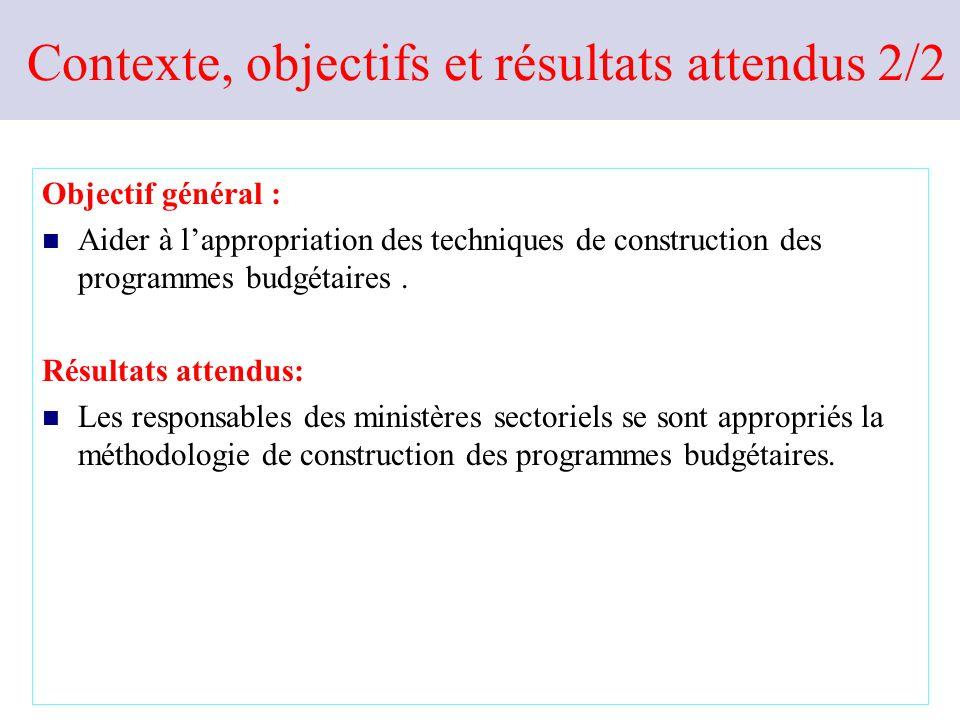 Contexte, objectifs et résultats attendus 1/2 Contexte: Mise place du budget par objectifs de programme consacré par la loi organique n°31/2010 du 21