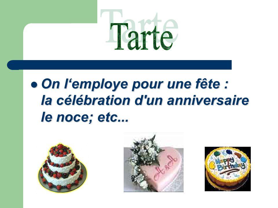 On l'employe pour une fête : la célébration d un anniversaire le noce; etc...