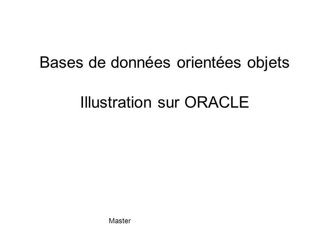 Master METHODES Chaque type OBJECT peut avoir des méthodes : CREATE TYPE nom-type AS OBJECT ( déclaration des attributs, déclaration des signatures des méthodes ) Signature d une méthode : MEMBER FUNCTION nom-méthode ( nom-param1 [ IN / OUT ] type- 1, ….) RETURN type-n MEMBER PROCEDURE nom-méthode ( nom-param1 [ IN / OUT ] type1, ….)