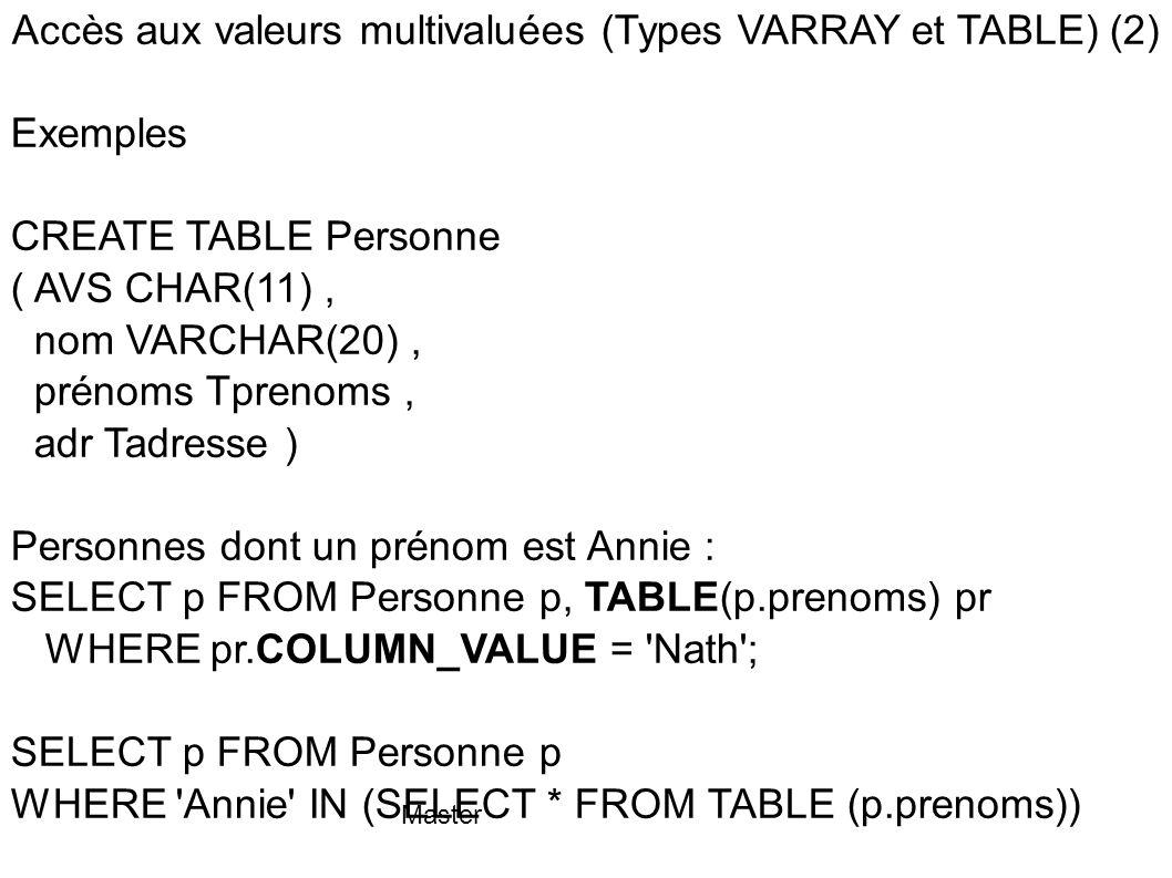 Master Accès aux valeurs multivaluées (Types VARRAY et TABLE) (2) Exemples CREATE TABLE Personne ( AVS CHAR(11), nom VARCHAR(20), prénoms Tprenoms, ad