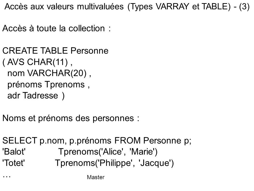 Master Accès aux valeurs multivaluées (Types VARRAY et TABLE) - (3) Accès à toute la collection : CREATE TABLE Personne ( AVS CHAR(11), nom VARCHAR(20