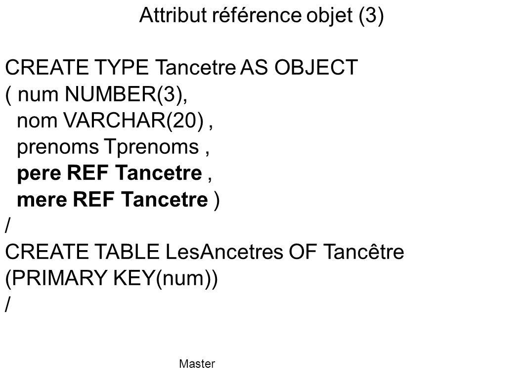 Master Attribut référence objet (3) CREATE TYPE Tancetre AS OBJECT ( num NUMBER(3), nom VARCHAR(20), prenoms Tprenoms, pere REF Tancetre, mere REF Tan