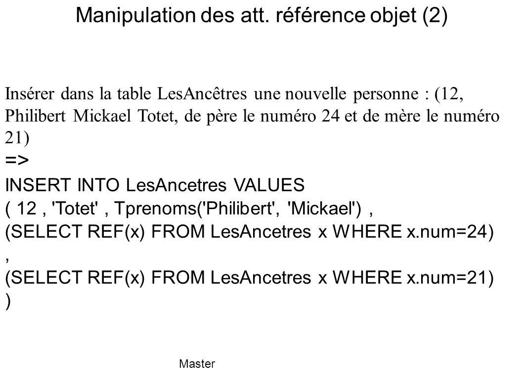 Master Manipulation des att. référence objet (2) Insérer dans la table LesAncêtres une nouvelle personne : (12, Philibert Mickael Totet, de père le nu